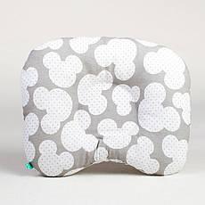 Подушка ортопедична для новонароджених BabySoon Міккі 22 х 26 см колір сірий (175)