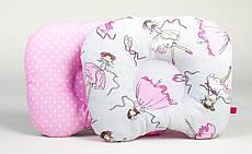 Дитяча ортопедична подушка BabySoon Балерини і горошок на рожевому 22 х 26 см (157)