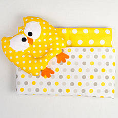 Комплект в коляску BabySoon Совунья ковдру 65 х 76 см подушка 22 х 26 см жовтий (116)