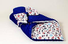 Демісезонний плюшевий конверт - ковдру на виписку BabySoon Морські мотиви 78 х 85 см синій (562)
