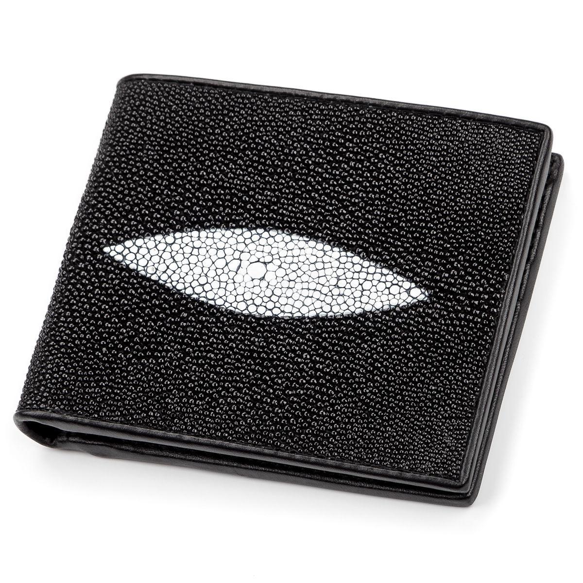 Портмоне Мужское Stingray Leather 18049 Из Натуральной Кожи Морского Ската Черное, Черный