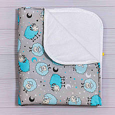 Непромокаемая пеленка BabySoon Бирюзовые барашки 70 х 80 см (0635)
