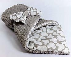 Демісезонний плюшевий конверт - ковдру на виписку BabySoon Сірий Міккі 78 х 85 см (0572)