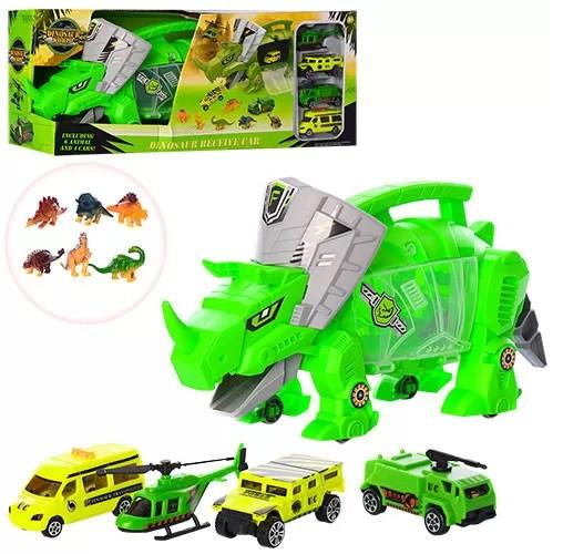 Трейлер - динозавр с машинками и фигурками