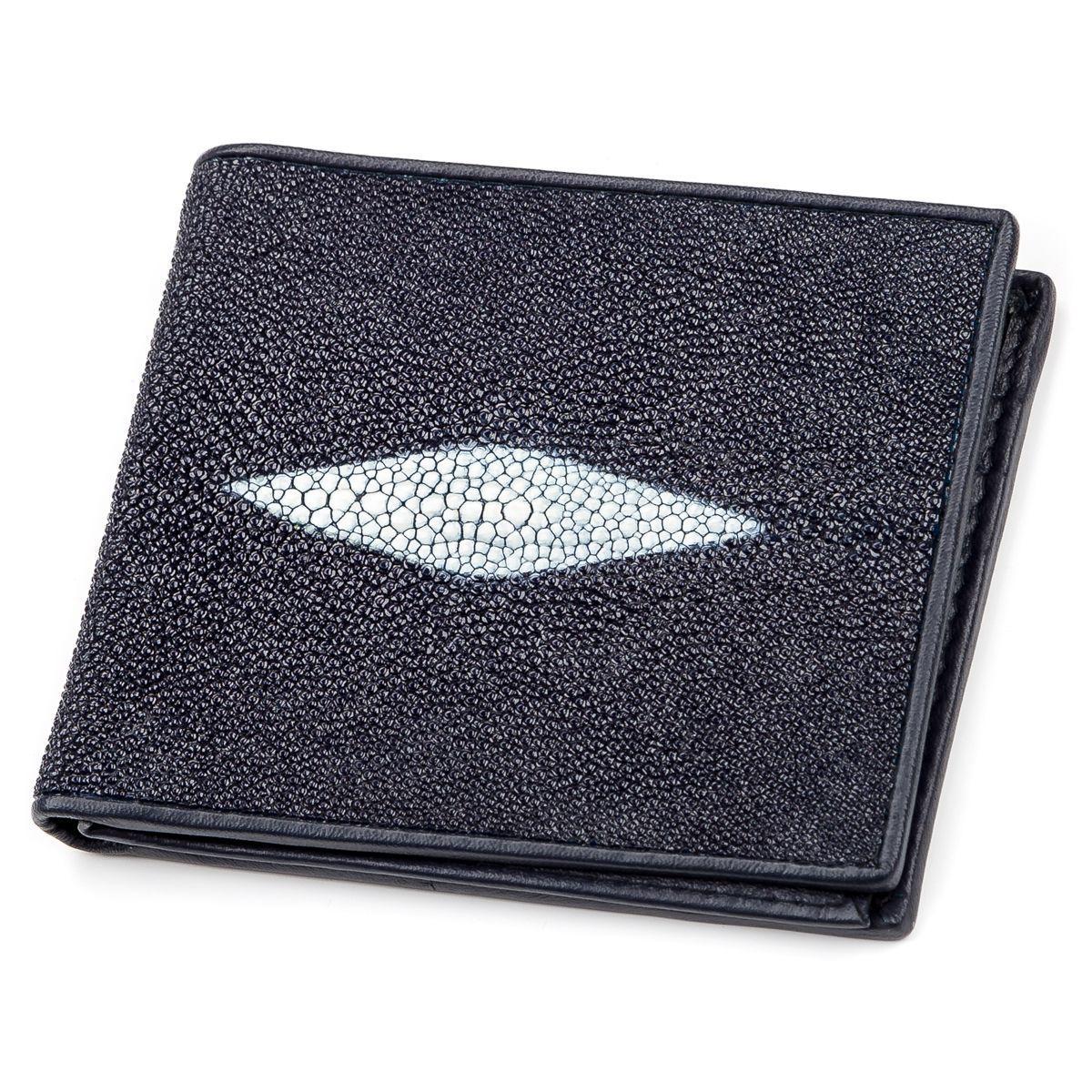 Портмоне Мужское Stingray Leather 18064 Из Натуральной Кожи Морского Ската Синее, Синий
