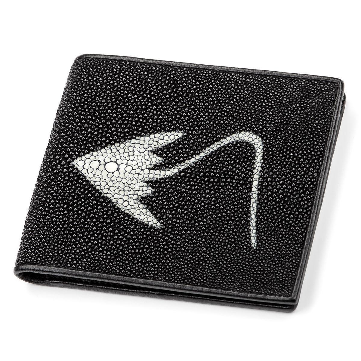 Портмоне Мужское Stingray Leather 18066 Из Натуральной Кожи Морского Ската Черное, Черный
