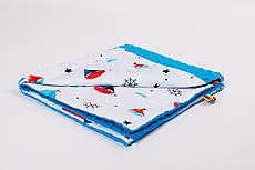 Плед дитячий плюшевий BabySoon 78х85см Кораблики з плюшем бірюзового кольору