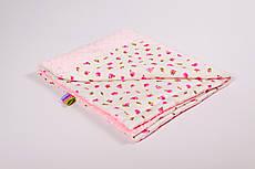 Плед дитячий плюшевий BabySoon 78х85см Рожеві трояндочки з плюшем ніжно рожевим