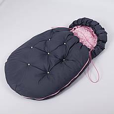 Конверт - кокон зимний BabySoon 45смх85см Умка Графитовый с бусинами и с розовым плюшем