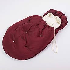 Конверт - кокон зимний BabySoon 45смх85см Умка Марсала с бусинами и с молочным плюшем