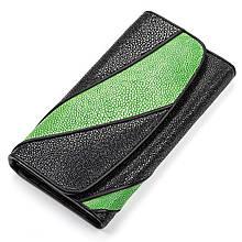 Кошелек Женский Stingray Leather 18116 Из Натуральной Кожи Морского Ската Черный, Черный