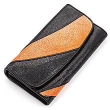 Кошелек Женский Stingray Leather 18118 Из Натуральной Кожи Морского Ската Черный, Черный