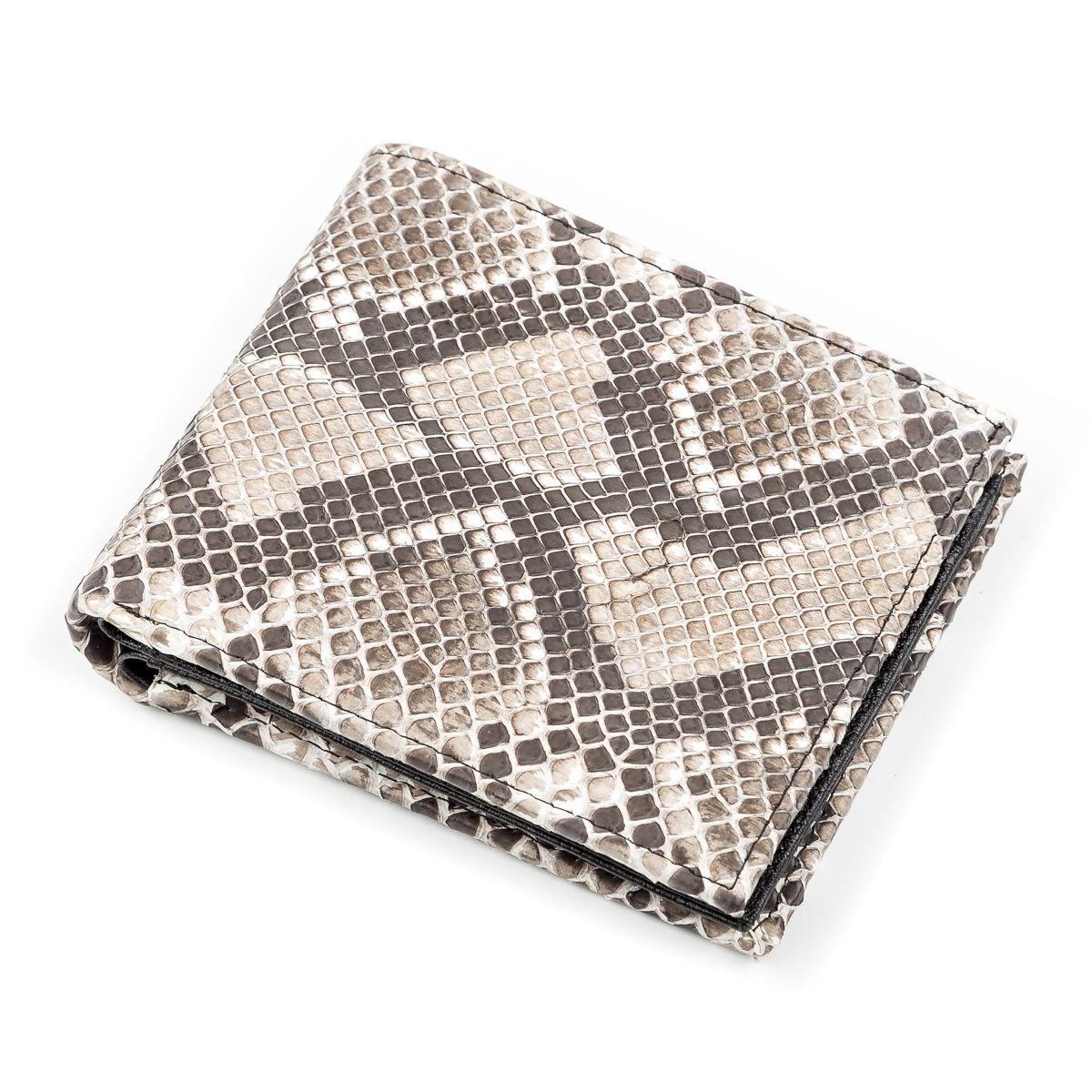 Портмоне Snake Leather 18136 Из Натуральной Кожи Питона Серое, Серый