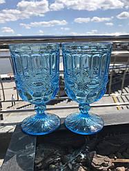 Набор 6 бокалов для вина из цветного бирюзового стекла Bailey Chalice по 300 мл