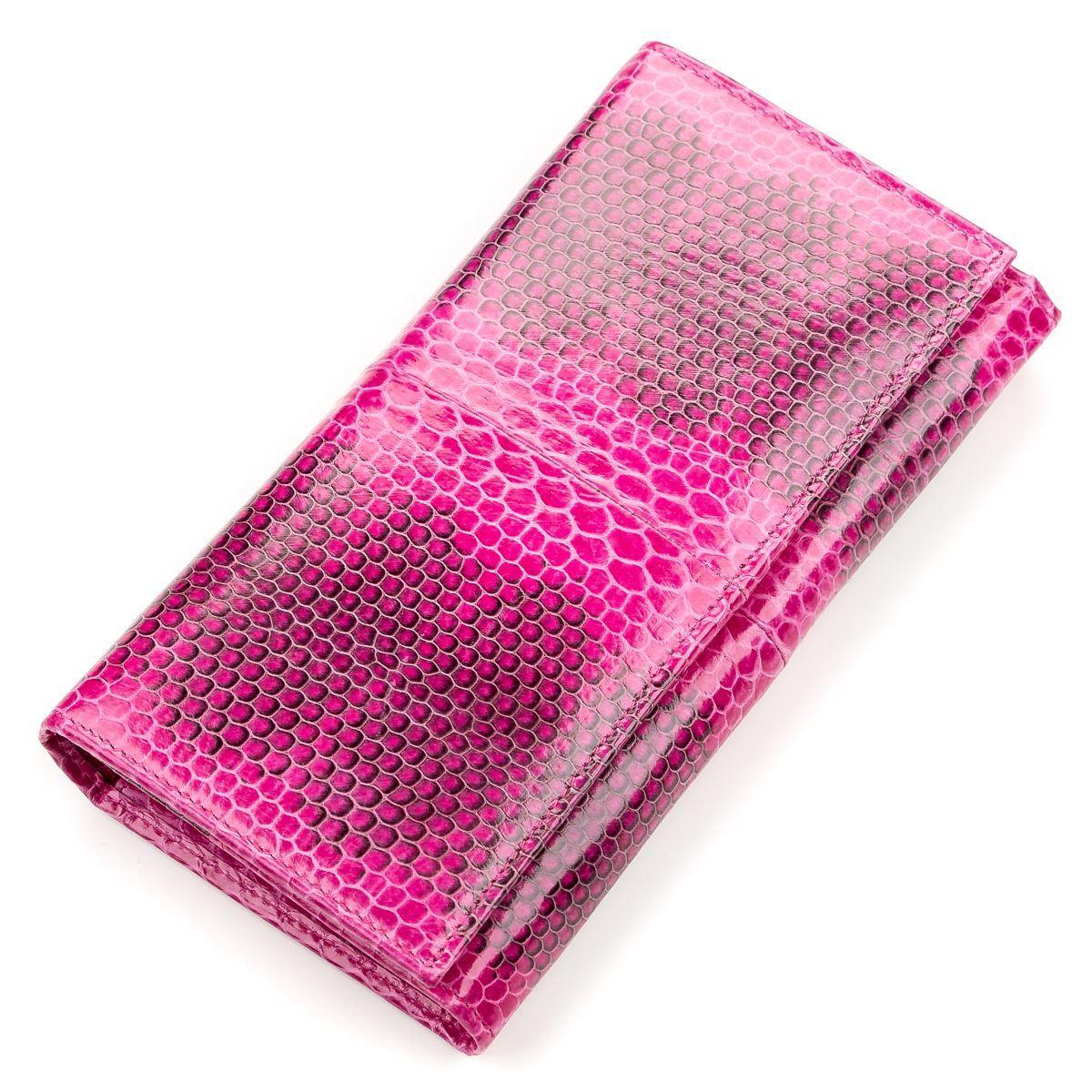 Кошелек Женский Sea Snake Leather 18154 Из Натуральной Кожи Морской Змеи Розовый, Розовый