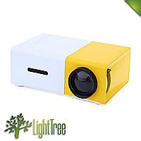 Мини проектор для дома и учебы YG-300 Желтого цвета