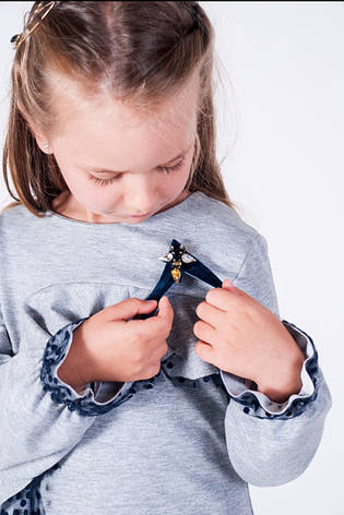 Оригинальное детское трикотажное платье с воланом 122-146, фото 2