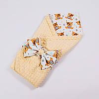 Демисезонный плюшевый конверт - одеяло на выписку BabySoon Мишки Тедди с кофейным плюшем 78 х 85 см