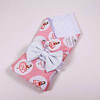 Демисезонный плюшевый конверт - одеяло на выписку BabySoon Принцессы в бальных платьях 78 х 85 см