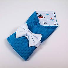 Демісезонний плюшевий конверт - ковдру на виписку BabySoon Кораблики на білому з бірюзовим плюшем 78 х 85 см