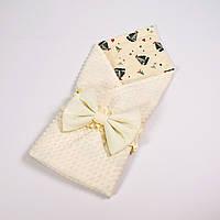 Демисезонный плюшевый конверт - одеяло на выписку BabySoon Кораблики с молочным плюшем 78 х 85см