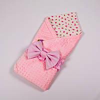 Демисезонный плюшевый конверт - одеяло на выписку BabySoon Розочки с плюшем розового цвета 78 х 85см