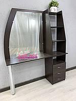 Стол для парикмахера с зеркалом и открытыми полками