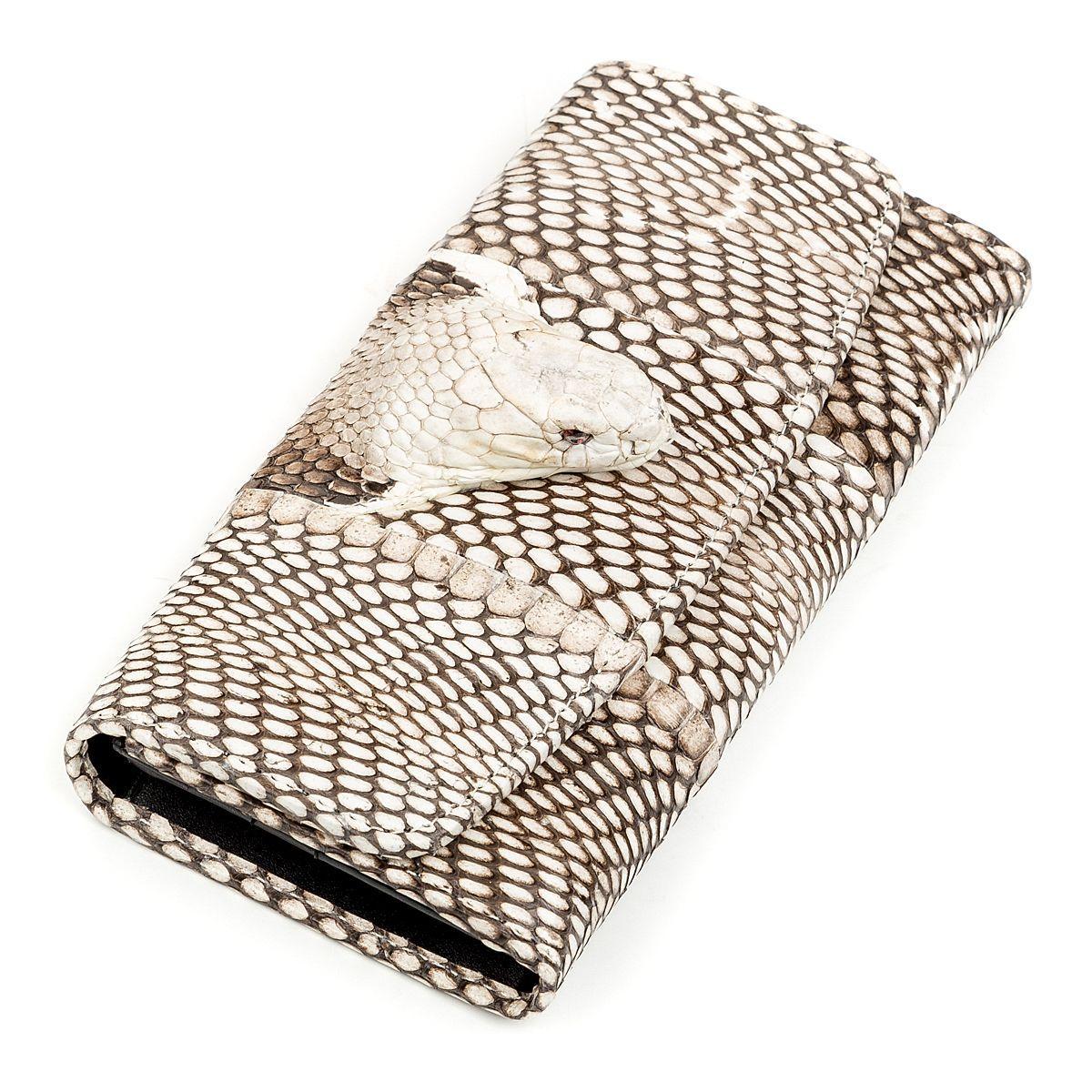 Кошелек Женский Snake Leather 18263  Из Натуральной Кожи Питона Серый, Серый