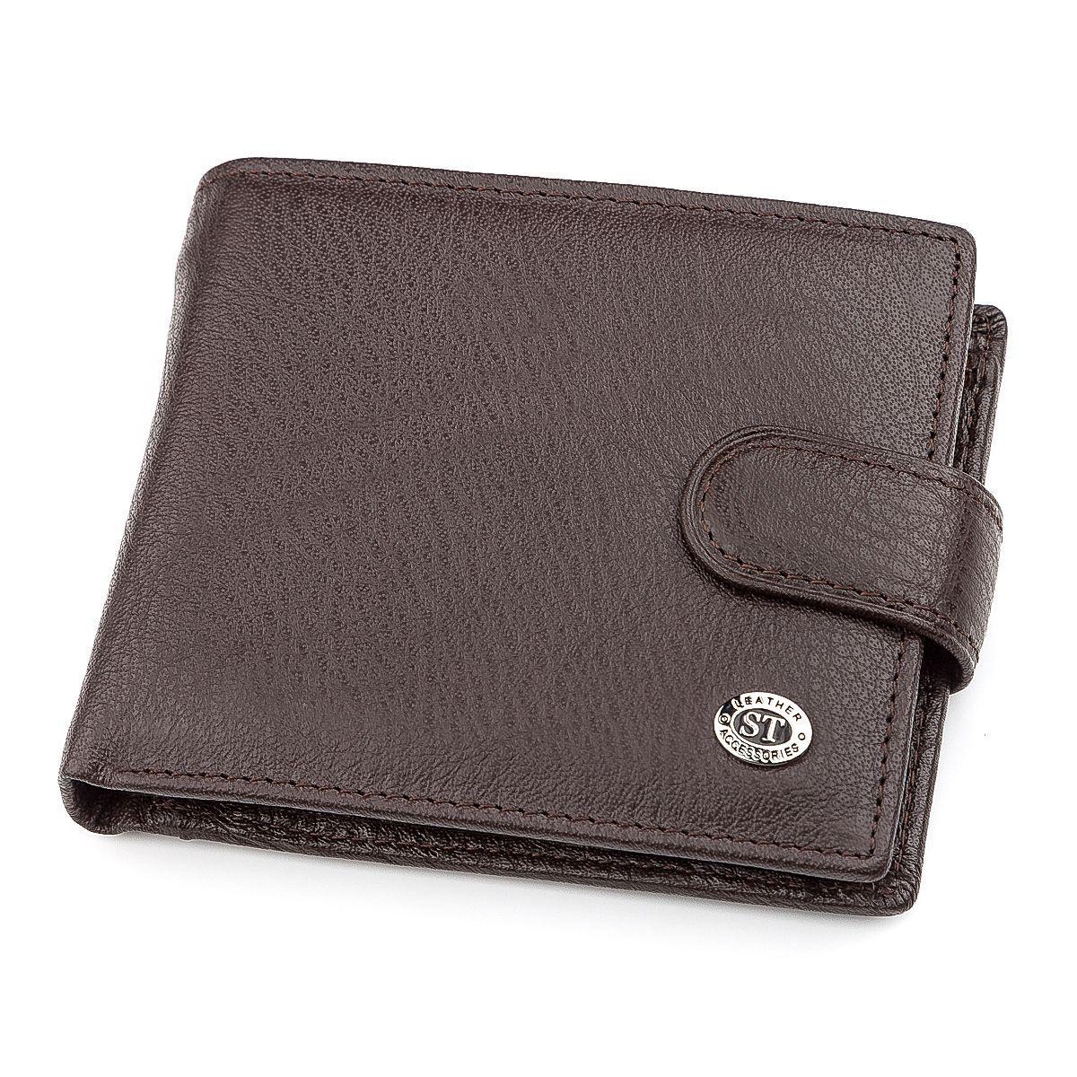 Мужской Кошелек St Leather 18310 (St103) Натуральная Кожа Коричневый, Коричневый