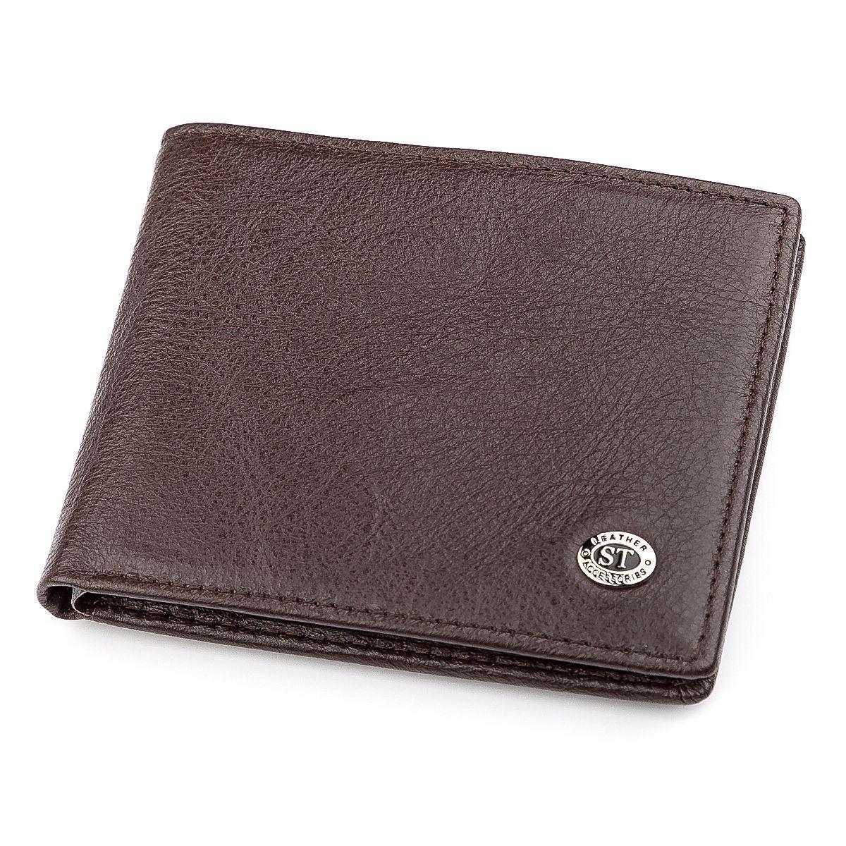 Мужской Кошелек St Leather 18320 (St160) Из Натуральной Кожи Коричневый, Коричневый