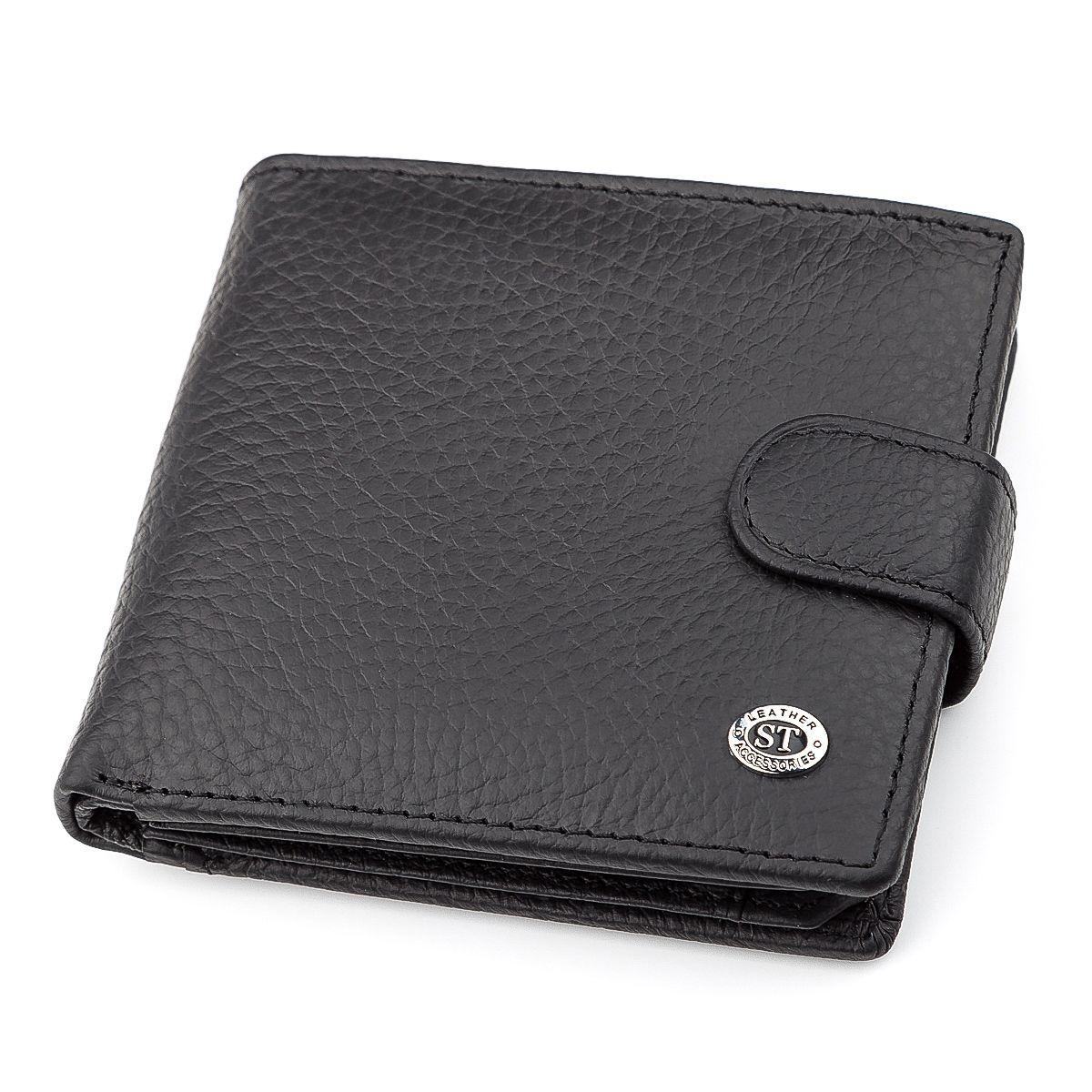 Мужской Кошелек St Leather 18345 (St153) Кожаный Черный, Черный