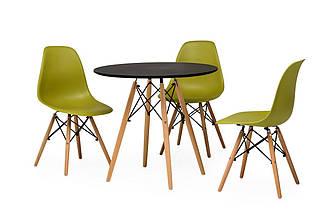 Круглый стол TM-35 матовый черный от Vetro Mebel D80 см,ножки из бука