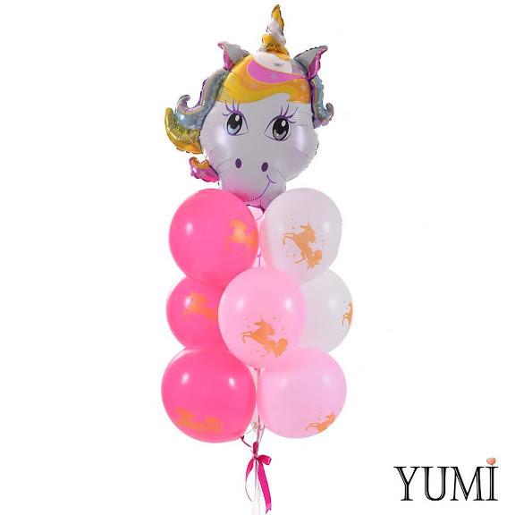 Связка: Голова единорога с челкой, 3 розовых, 3 фуксия и 3 белых шара с золотым единорогом