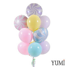 Связка: 3 конфеты нежных оттенков и 10 меловых шаров: 2 мятных, 3 розовых, 2 желтых и 3 сиреневых