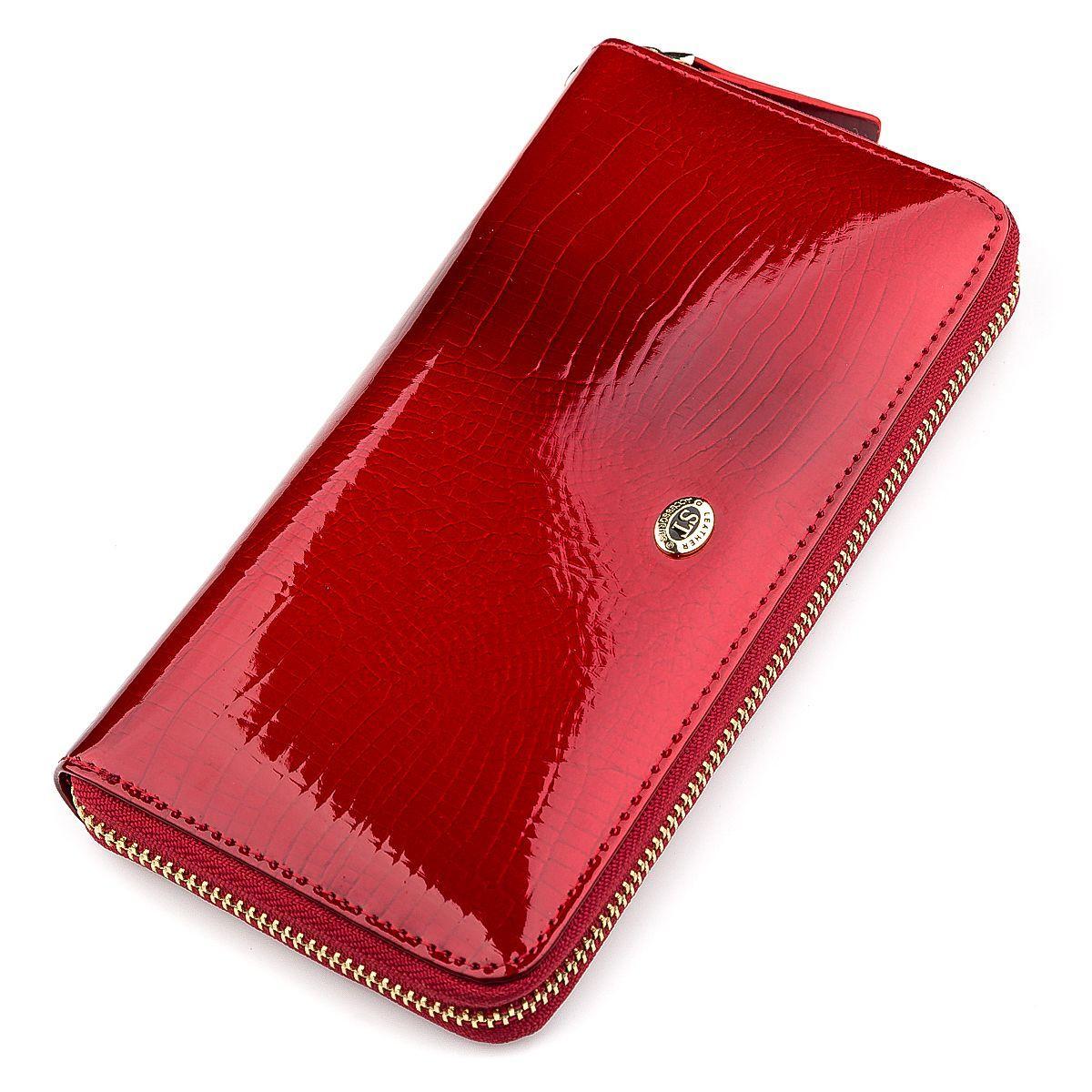 Кошелек Женский St Leather 18397 (S4001A) На Молниях Красный, Красный