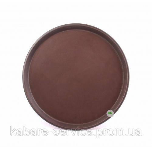 Поднос АНТИСЛИП, нескользящее покрытие, 28 см, коричневый, Co-Rect