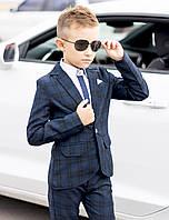 Школьный костюм для мальчика двойка приталенный классический клетчатый, синий костюм для школы, школьная форма 122