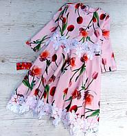 Детское платье р. 140,146 с тюльпанами