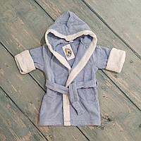 Банный махровый халат с капюшоном для мальчика, рост 86 (1,5-2 года)