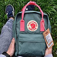 Рюкзак городской качественный Fjallraven Kanken MINI 7 ЛИТРОВ, цвет светло-зеленый (розовые ручки), фото 1