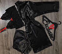 Черный комплект домашней одежды, халат+пижама(бюстгальтер-браллет  и шорты)