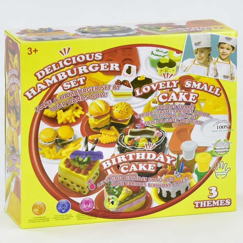 """Тесто для лепки 8801 (12) """"Вкусные Гамбургеры"""", 12 баночек теста, аксессуары, в коробке"""