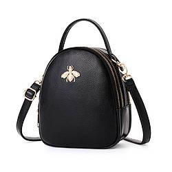 """Небольшая женская сумочка через плечо """"Пчёлка"""" из экокожи, с тремя отделениями, 3л"""
