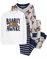 """Набор с двух пижамок 4 в 1 """"Мишка"""" Carter's для мальчика , пижама для малыша в садик картерс"""