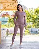 Вязаный стильный женский  спортивный костюм цвет пудра,