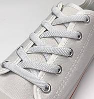 Шнурок резиновый плоский белый 100см (Ширина 7 мм), фото 1