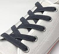 Шнурок резиновый плоский темно-серый 80см (Ширина 7 мм), фото 1