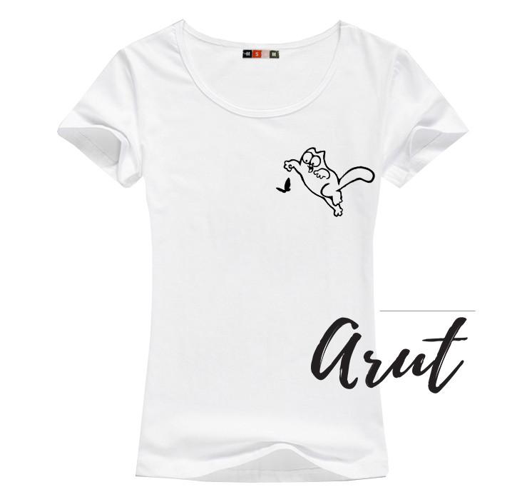 Женская летняя футболка с котом Саймоном  принт №7
