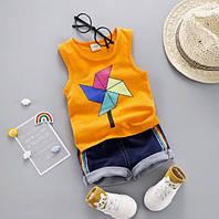 Комплект майка и шорты Ветрячок (оранж) 80,90,110,110, фото 1
