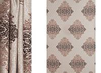 Бежевая портьерная ткань для штор Жаккард с рисунком
